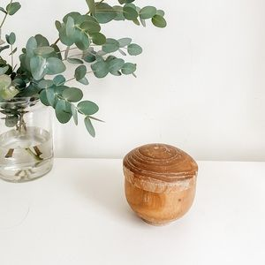 Small wood dish with lid